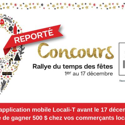 Communiqué | Report du concours Rallye du temps des fêtes